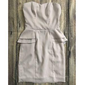 H&M Light Gray Strapless Peplum Dress 2 00 XXS